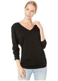 Michael Stars Ultra Jersey Carson Long Sleeve V-Neck with Shirred Sides