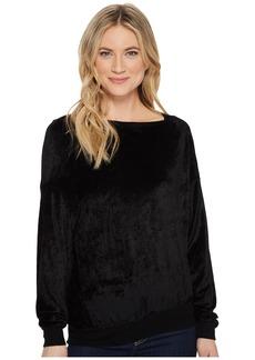 Michael Stars Velvet Long Sleeve Asymmetric Neck Pullover