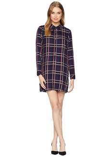 Michael Stars Woven Plaid Henley Shirtdress
