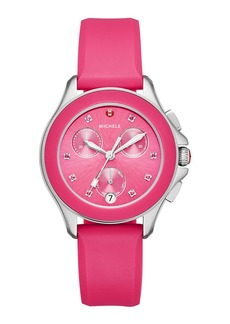 Michele 36mm Cape Topaz Chrono Watch with Silicone Strap  Pink