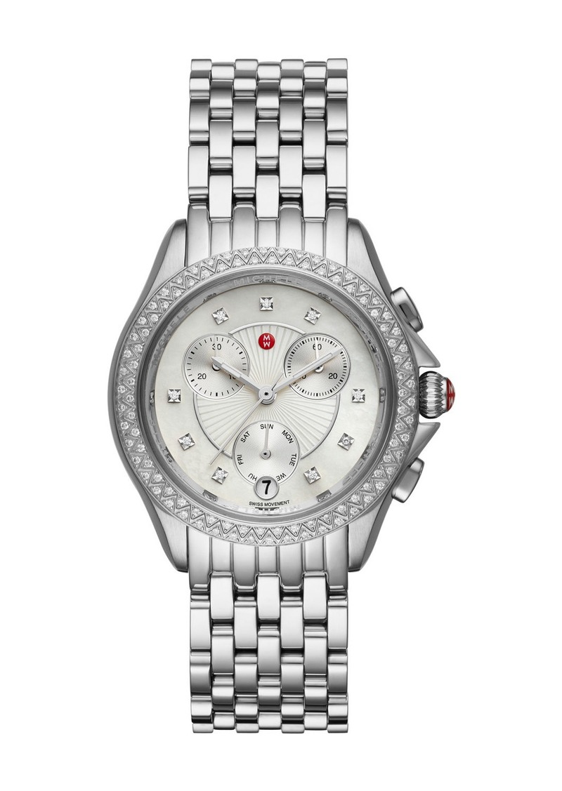 Michele 37mm Belmore Bracelet Chronograph Watch w/ Diamonds