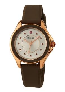 Michele 40mm Cape Watch w/ Silicone Strap  Brown