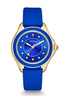 Michele Cape Topaz Golden Watch w/Silicone Strap  Cobalt Blue