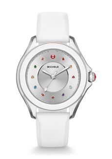 Michele Cape Topaz Watch with Silicone Strap  White