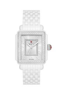 Michele Deco Madison Diamond & White Ceramic Bracelet Watch