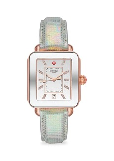 Michele Deco Sport Rose Goldtone, Topaz & Iridescent Textured Leather Strap Watch