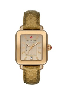 Michele Deco Sport Two-Tone Beige Goldtone/Bronzetone Stainless Steel & Embossed Leather Strap Watch