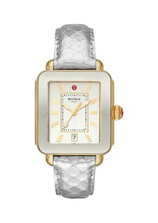 Michele Deco Sport Two-Tone Goldtone Stainless Steel & Embossed Leather Strap Watch
