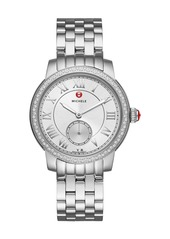 Michele Harbor 35mm Stainless Steel Bracelet Watch with Diamonds
