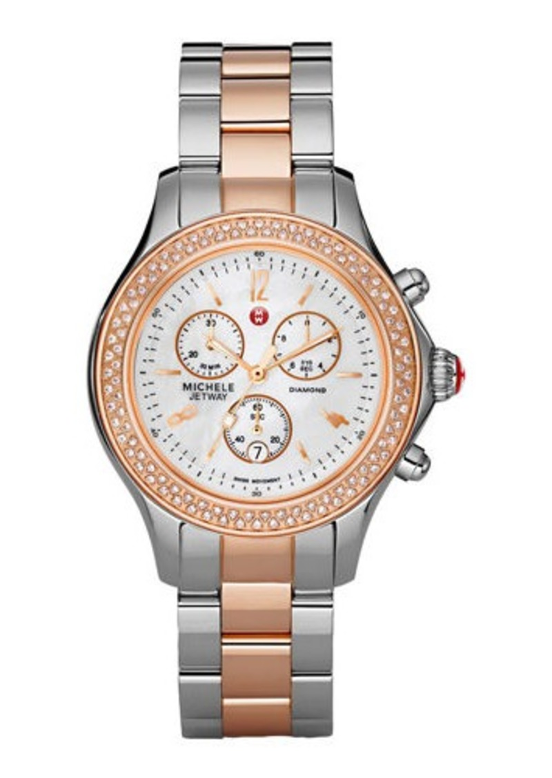 MICHELE 18k Rose Gold-Plated & Stainless Steel Three-Hand Chronograph Watch w/ Diamonds