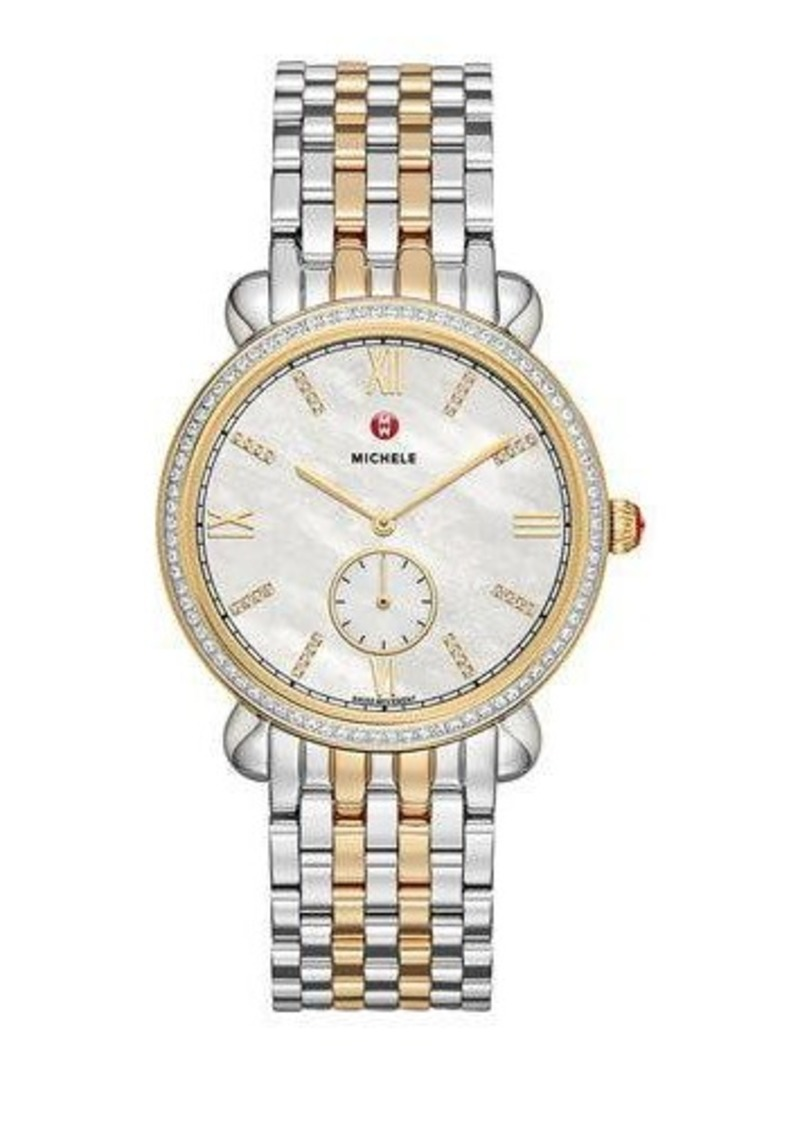 MICHELE 36mm Gracile Two-Tone Bracelet Watch w/ Diamonds