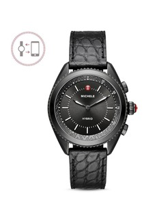 MICHELE Black Alligator & Silicone Strap Hybrid Smartwatch, 38mm