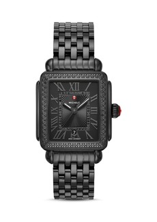 MICHELE Black Deco Watch, 33mm x 35mm