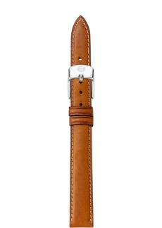 MICHELE Brown Leather Watch Strap, 14mm