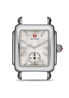 MICHELE Deco Mid Gold Diamond Dial Watch Head, 29 x 31mm