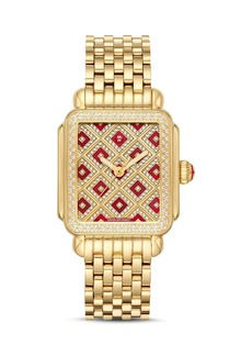 MICHELE Deco 18 Gold-Tone Diamond Watch, 33mm x 35mm