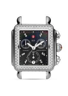 MICHELE Deco Diamond Black Dial Watch Head, 33 x 35mm