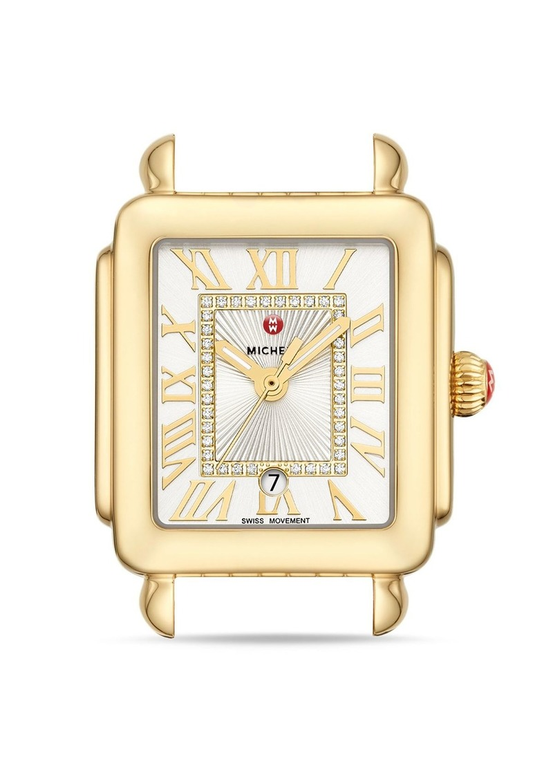MICHELE Deco Madison Mid Gold Diamond Dial Watch Head, 29mm x 31mm