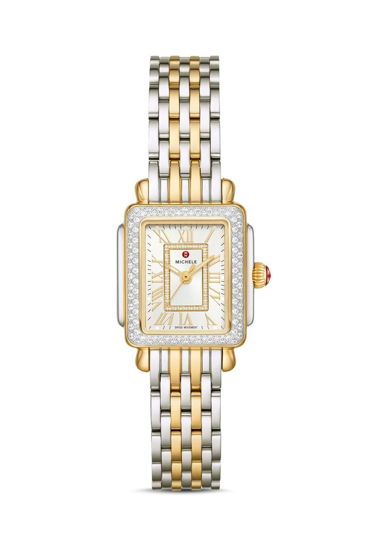 MICHELE Deco Madison Mini Two-Tone Diamond Watch, 22mm x 35mm