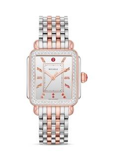 MICHELE Deco Pink Gold Rainbow Diamond Watch, 33mm x 35mm
