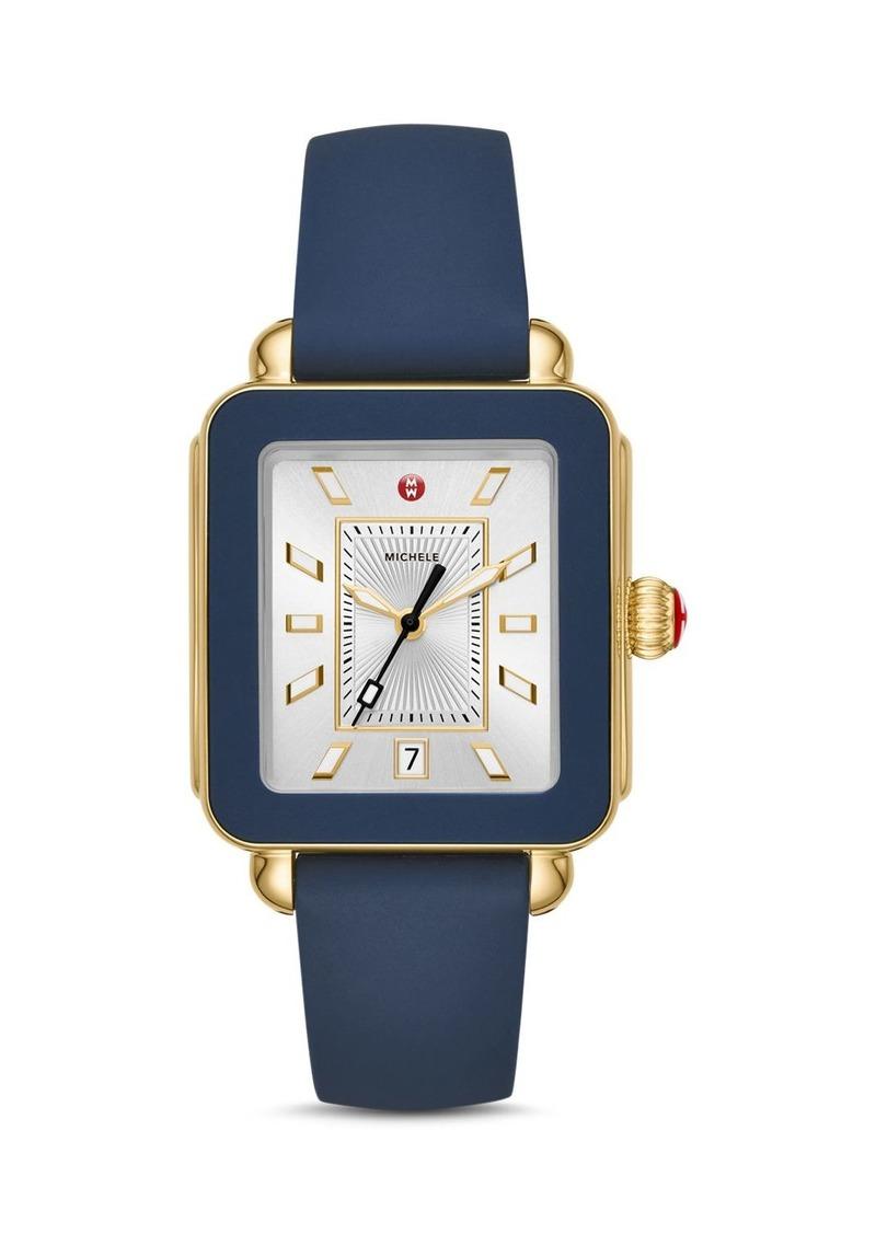MICHELE Deco Sport Silicone Bezel Watch, 34mm x 36mm