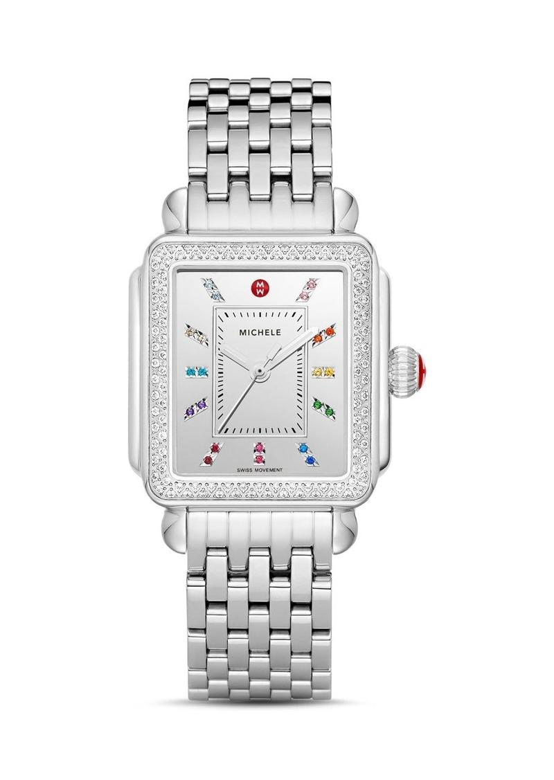 MICHELE Deco Stainless Steel Rainbow Diamond Watch, 33mm x 35mm