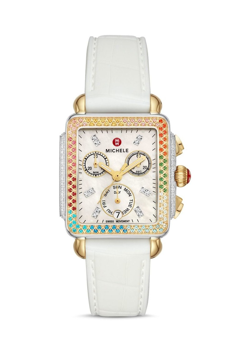 MICHELE Deco Two-Tone Rainbow Case Diamond Chronograph, 33mm x 35mm