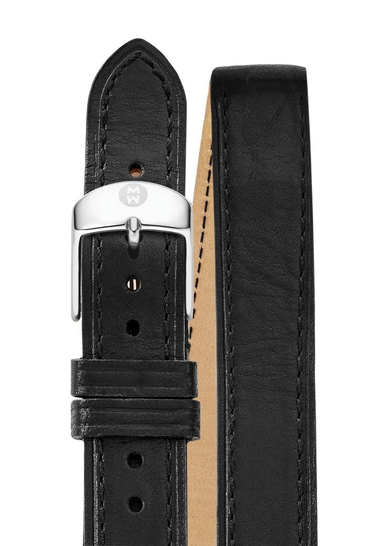 MICHELE Double Wrap Leather Watch Strap, 16-18mm