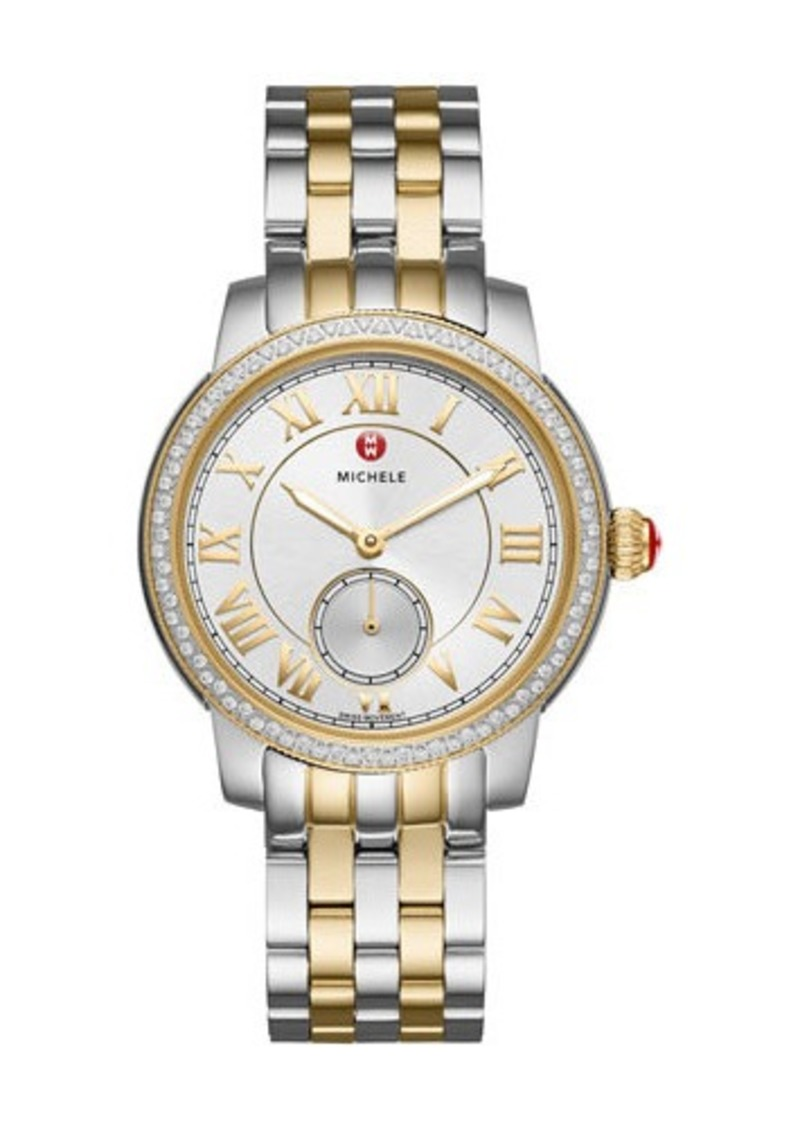 MICHELE Harbor 35mm Two-Tone Bracelet Watch with Diamonds