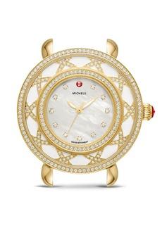 MICHELE Lace Cloette White Mother-of-Pearl Dial & Diamond Bezel Watch, 38mm
