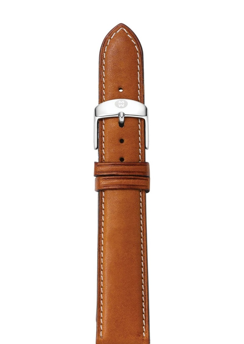 MICHELE Saddle Leather Watch Strap, 16-18mm