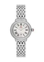 MICHELE Serein 28mm Stainless Steel Bracelet Watch with Diamond Bezel