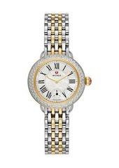 MICHELE Serein 28mm Two-Tone Bracelet Watch with Diamond Bezel