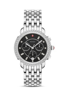 MICHELE Sidney Black Mother-of-Pearl & Diamond Chronograph Watch Head, 38mm
