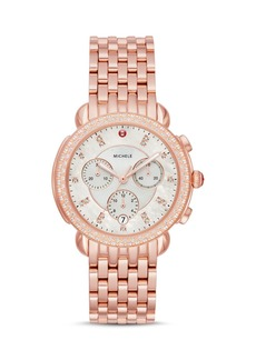 MICHELE Sidney Rose Gold-Tone Diamond Chronograph, 38mm