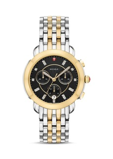 MICHELE Sidney Two-Tone Mother-of-Pearl & Diamond Chronograph Watch Head, 38mm