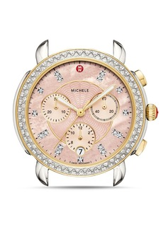 MICHELE Sidney Two-Tone Pink Dial Diamond Watch Head, 38mm