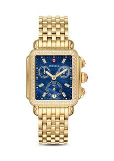 MICHELE Deco Gold Diamond Watch Head, 33mm x 35mm