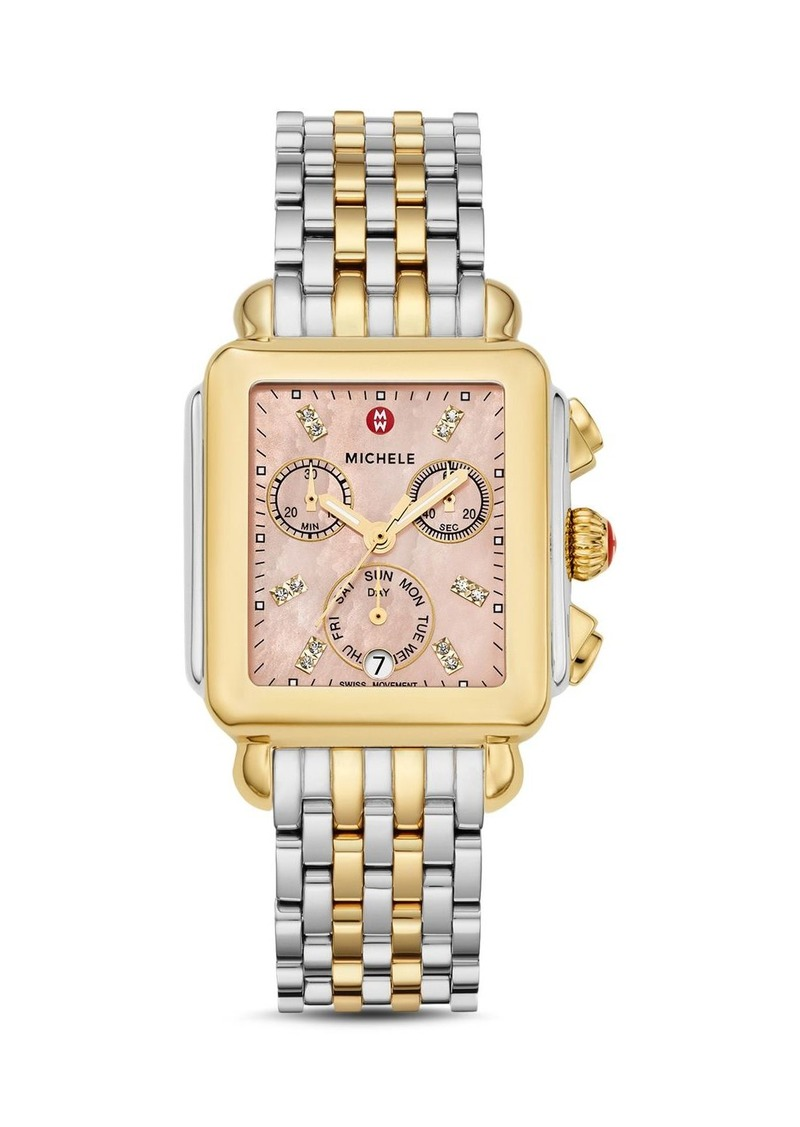 MICHELE Deco Two-Tone Diamond Dial Watch Head, 33mm x 35mm - 100% Exclusive