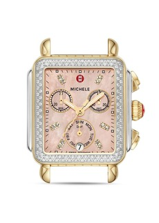 MICHELE Signature Deco Two-Tone Pink Dial Diamond Watch Head, 33mm x 35mm