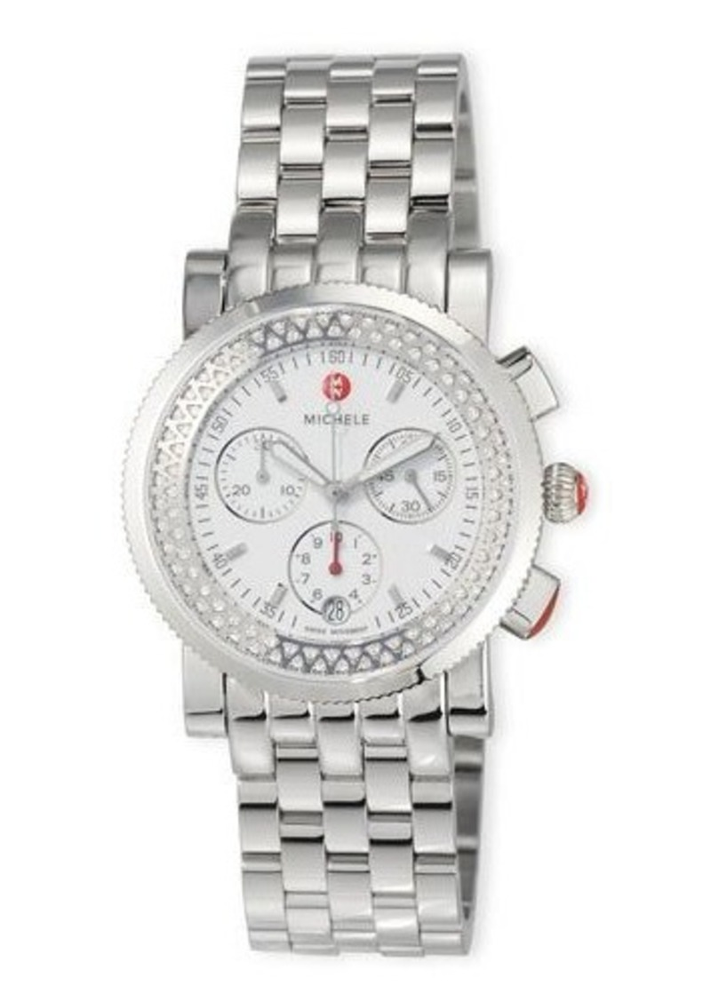 MICHELE Sport Sail Stainless Steel Chronograph Watch with Diamonds