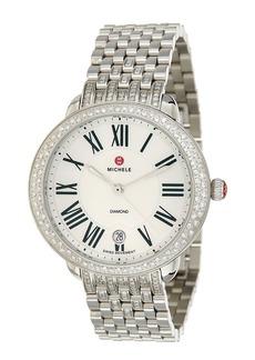 Michele Stainless Steel .50 Ct Tw Diamond Watch