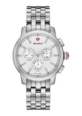 MICHELE Stainless Steel Chronograph Watch w/ Diamonds