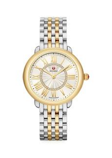 Michele Serein Mid Two-Tone Diamond Bracelet Watch