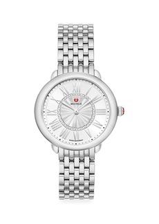 Michele Serin Mid Stainless Steel Diamond Bracelet Watch