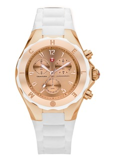 Michele Tahitian Large Jelly Bean Chronograph  White/Rose Gold