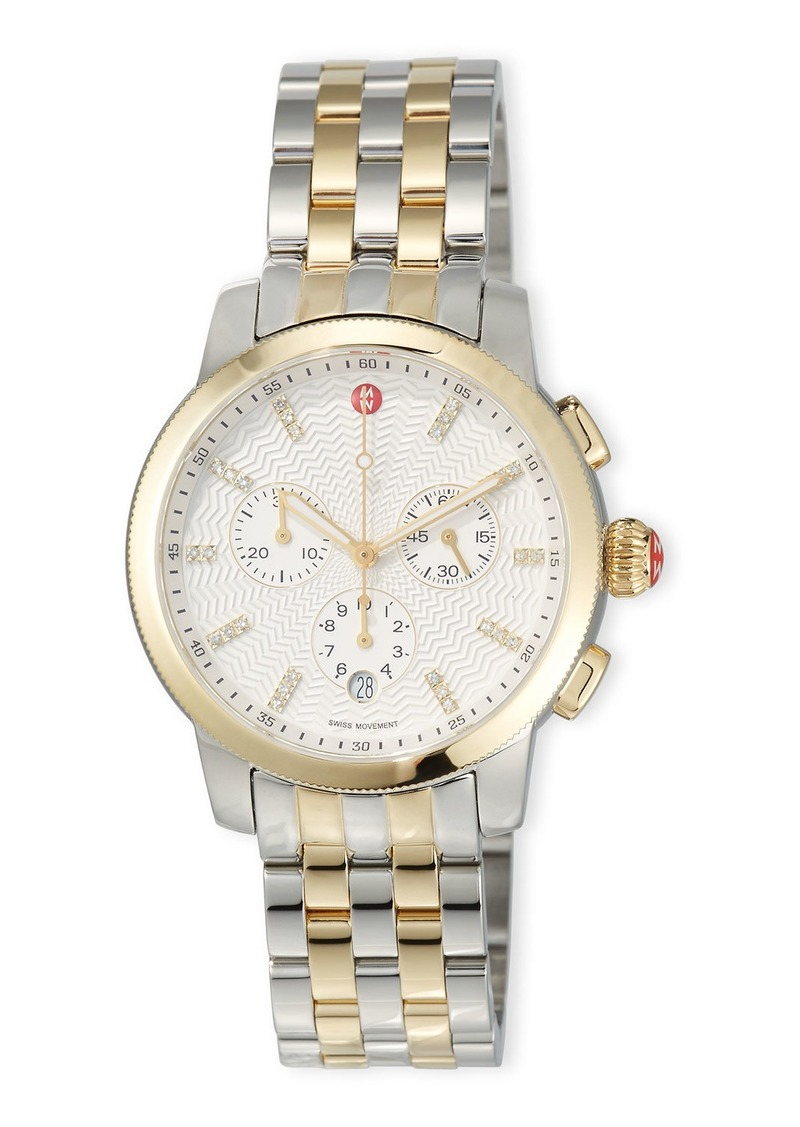 Michele Uptown 39mm Two-Tone Bracelet Watch with Diamonds