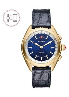 Michele Women's Hybrid Tracker Genuine Alligator Leather Strap Smart Watch, 38mm