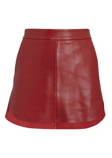 Michelle Mason Baseball Hem Red Leather Mini Skirt