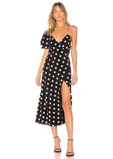 Michelle Mason Cape Sleeve Wrap Dress